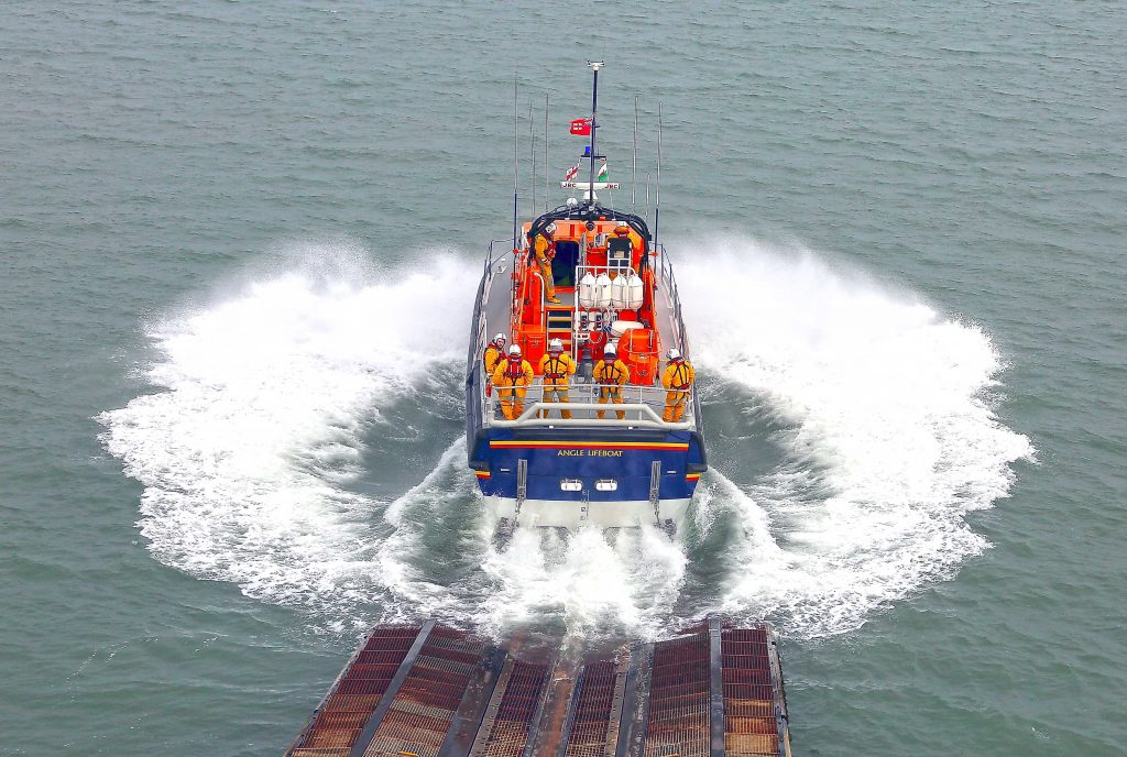 Angle RNLI's all weather lifeboat launching