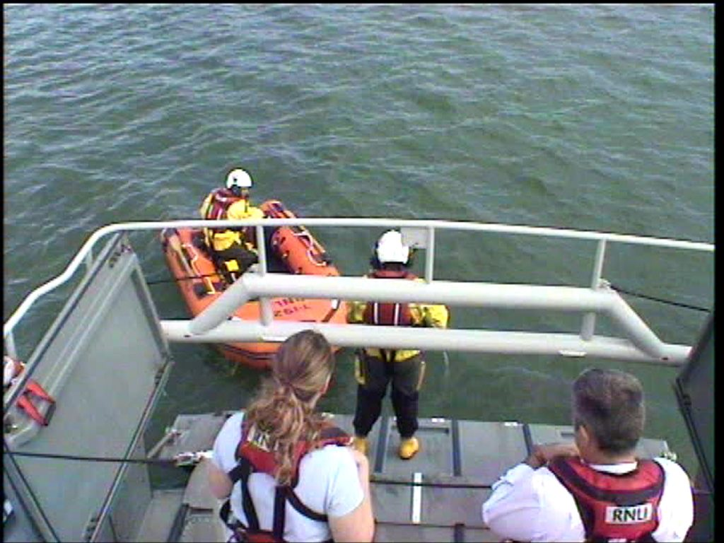 Angle lifeboat's Y boat is launched to check on the RIB