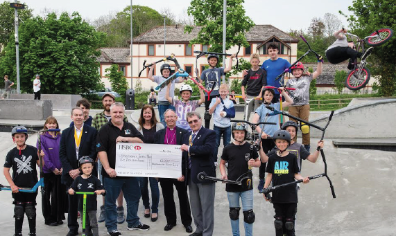 Fundraiser success: Cheque for £2,000 being handed to Geraint Williams, Chairman of Haverfordwest Skatepark