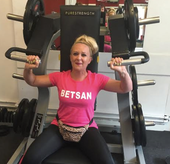 In the gym: Betsan taking part in one of the fitness classes