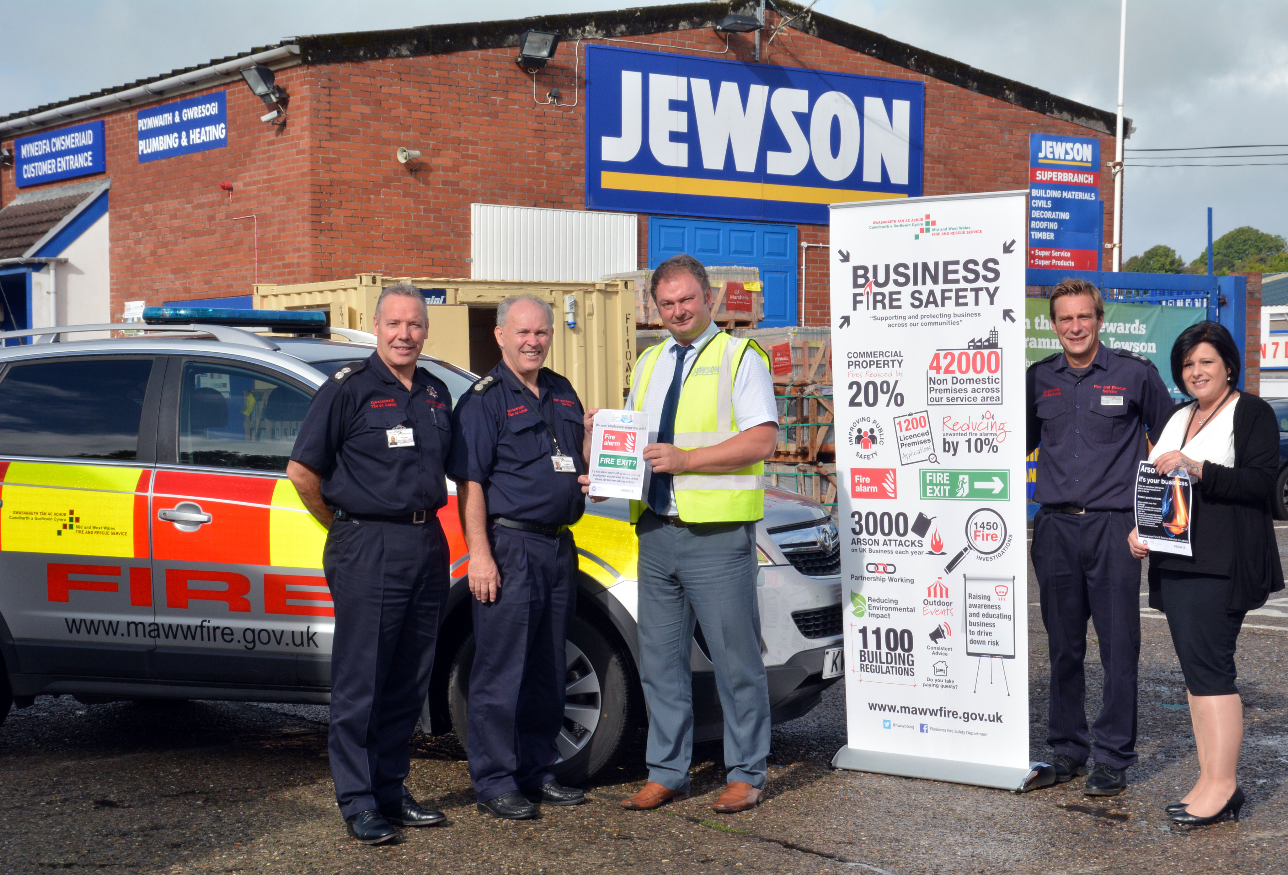 Left to right: Watch Manager Keith Jenkins, Station Manager Rob Bellerby, Jewson Department Manager Andrew Wilson, Watch Manager Pete Swales, Business Fire Safety Building Regulation Coordinator Kay Thomas.
