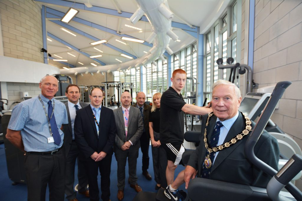 Pictured at the launch are (left to right), Chris Payne, Leisure Services Manager; Councillor Elwyn Morse, Cabinet Member for Culture, Sport and Leisure; Darren Bowen; Councillor Hancock; Ian Westley, Council Chief Executive; Julie Ashley-Jones, Principal Leisure Development Officer, Fitness Instructor Tom Delaney and Councillor Brinsden.