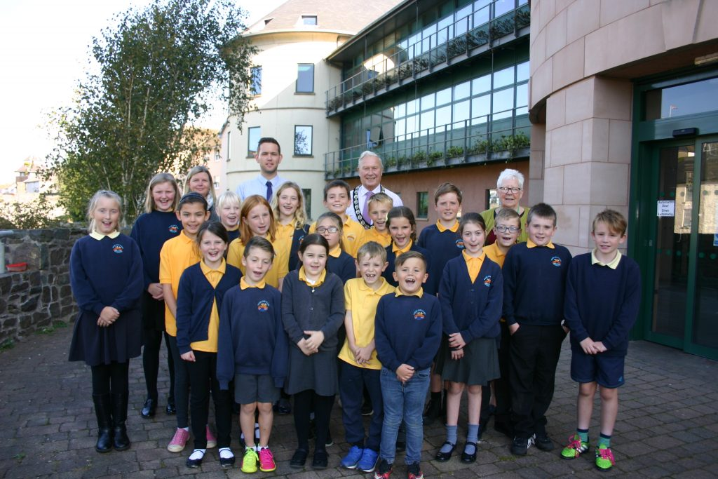 Pupils from Ysgol Ger-y-Llan: Visiting County Hall, with Cllr Brinsden, Owen Good, Tina Reynolds and Cllr Davies.