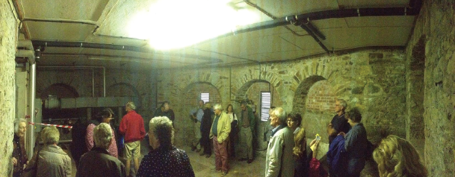 Crowds: Filtering into the basement of Foley House