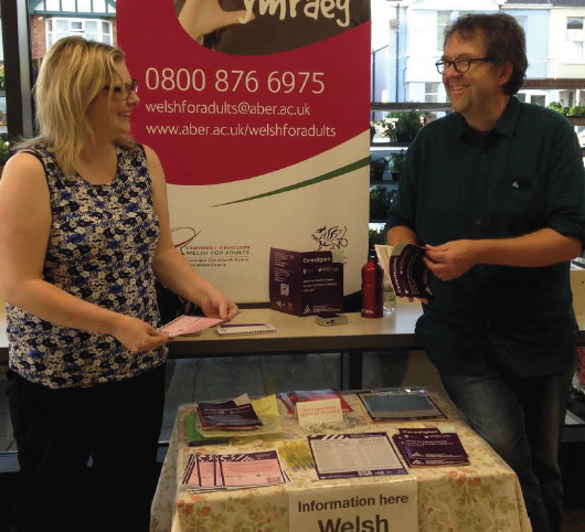 Brisk business: At the Welsh Classes Information Stall
