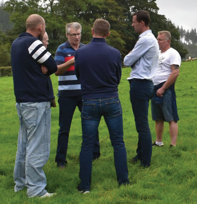 Huw Davies with Danish butchers at Llandre: Discussing how Welsh Lamb is produced