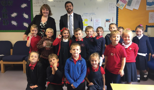 Stephen Crabb MP: With Headteacher Sonja Groves and the school council