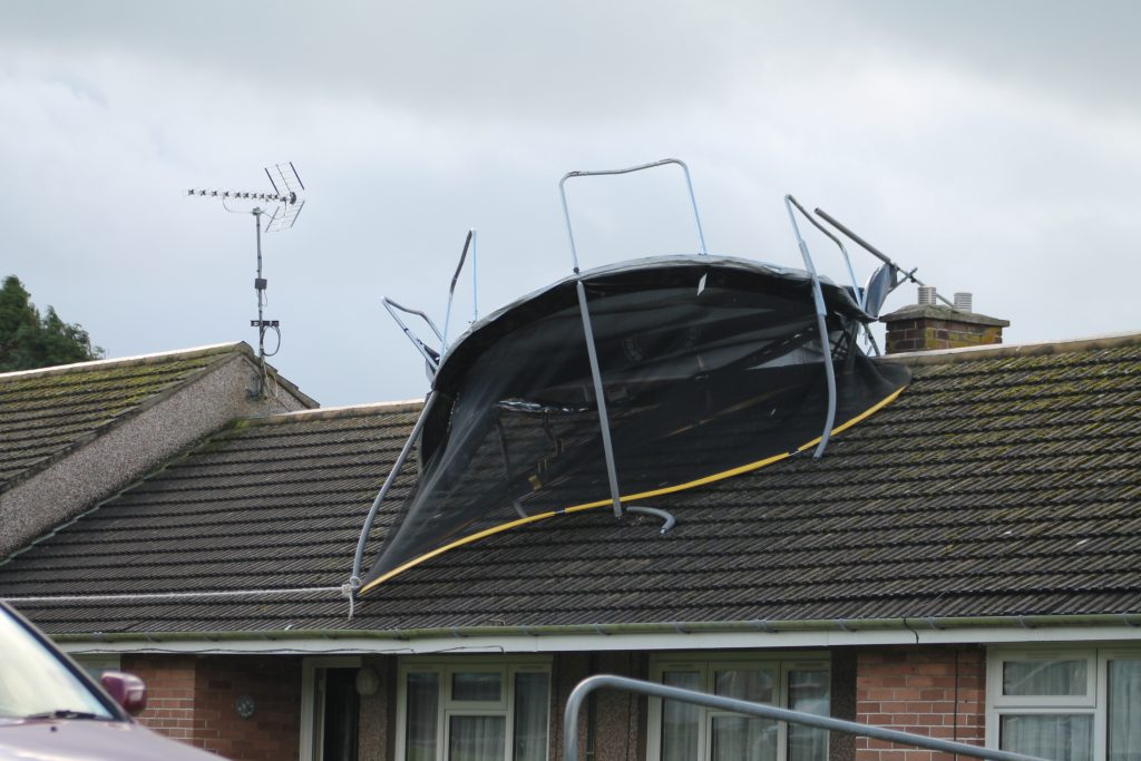 High flying: The trampoline on the roof (pic. The Herald)