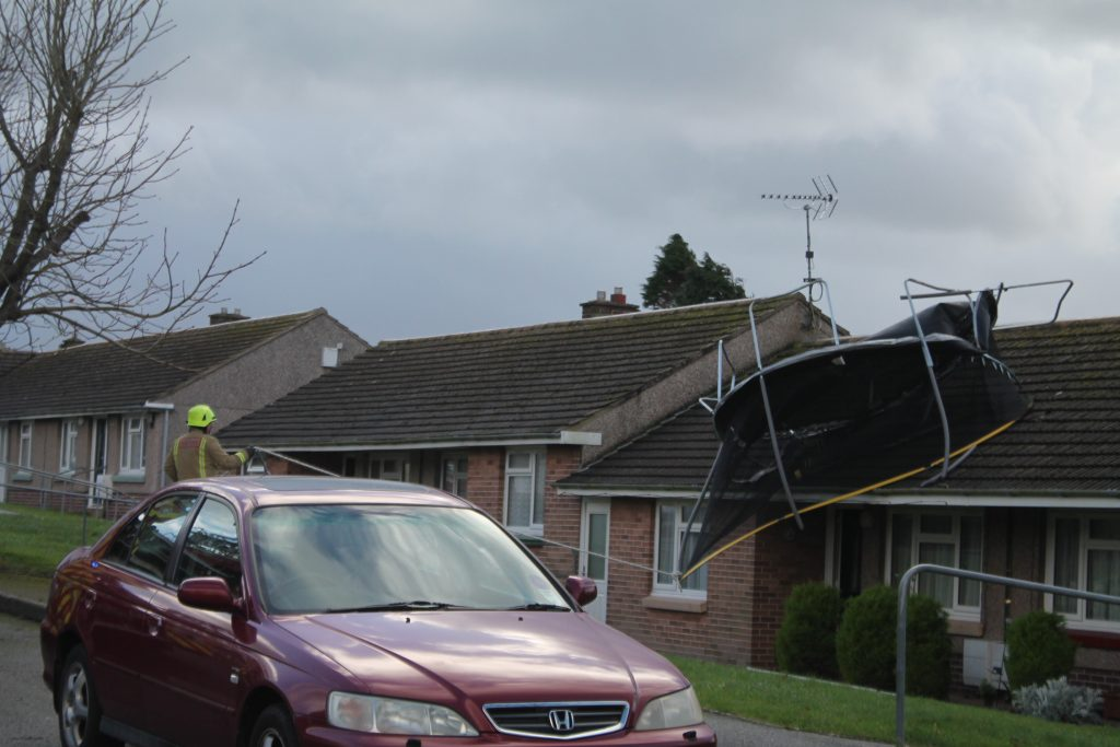 Safely pulled down: The fire service got the trampoline down