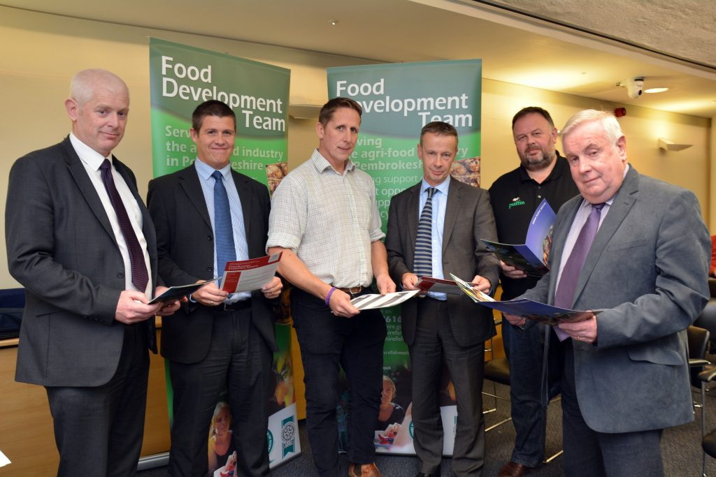 Autumn Producers Evening are (left to right) Carwyn Davies, Andrew Thomas, Steven Bradley, Martin White – Head of Regeneration at Pembrokeshire County Council, Huw Thomas – Managing Director of Puffin Produce, and Cllr Keith Lewis.