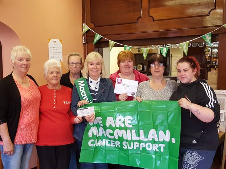 Pictured are left to right Margaret Mchugh, ( Paddy Mchugh) Bronwen Price ( Macky Price)At back isChristine Steer (David Laugharne)Pauline Davies ( Pembrokeshire Macmillian Chairperson)at back is Amanda Absalom-Lowe ( Pembrokeshire Care share & Give) Alison & Shenice Williams ( Macky Price) Bronwen is presenting a cheque to Macmillian chair on behalf of Pembrokeshire Care, share & Give