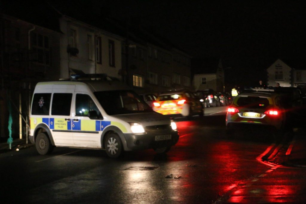 Eight police vehicles were at the scene (Pic: Herald)