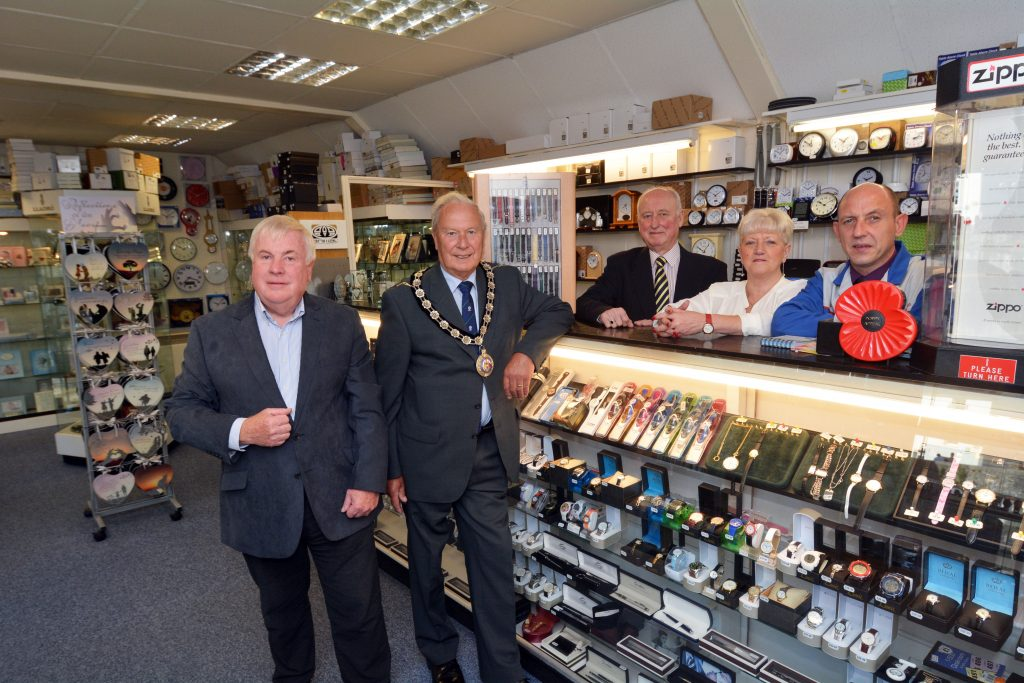 Pictured at Time Is are (left to right); Cllr Keith Lewis, Cllr Tony Brinsden, Chairman of Pembrokeshire County Council, Reg Davies, Sandra Davies and Greg Davies.