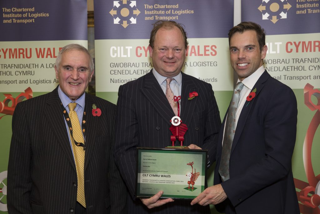 Alec Don, Chief Executive of Port of Milford Haven: Receiving a National Transport Award from AM Ken Skates and Professor Stuart Cole of CILT Cymru