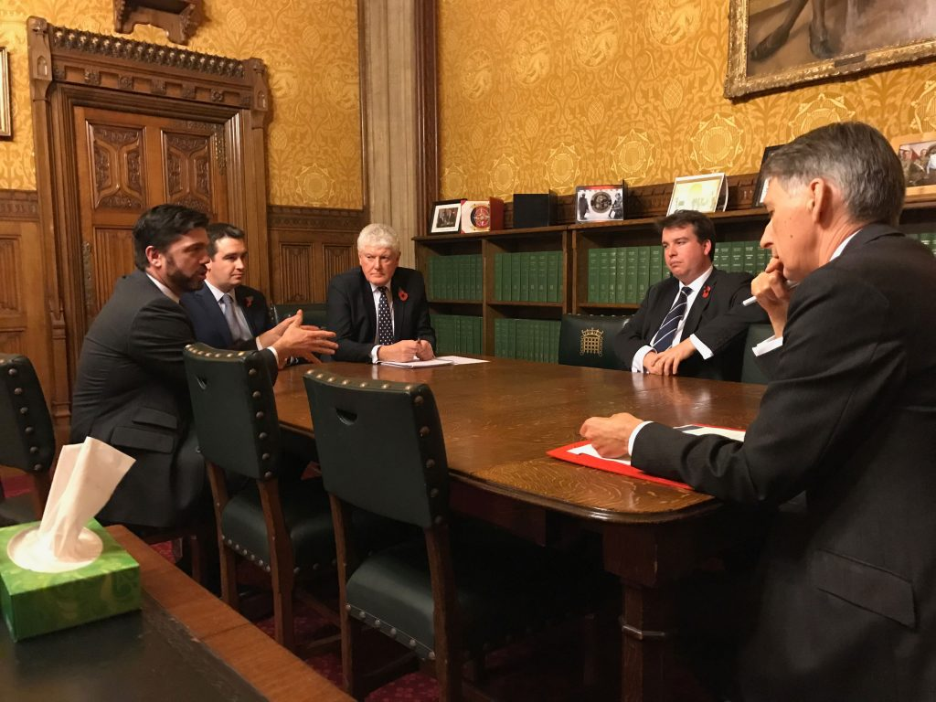 Stephen Crabb MP: With fellow MPs James Davies, Byron Davies and Craig Williams meet with Chancellor Phillip Hammond
