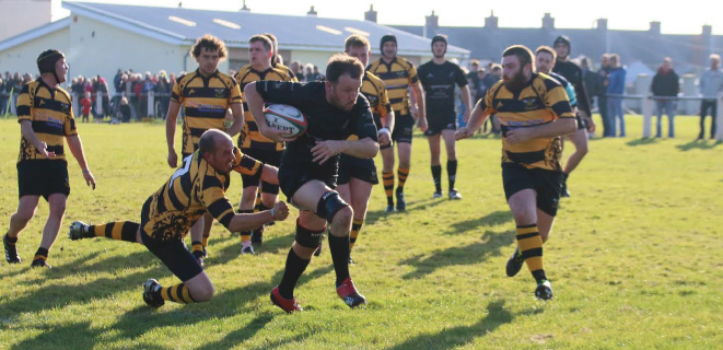 Mark Russell: Bursts through to score a try for Neyland