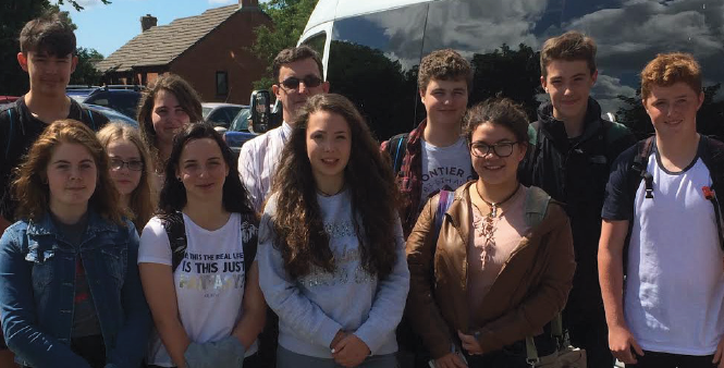 Leaving Milford: The Summer School pupils, with Mr Clee, ready to travel to Southampton