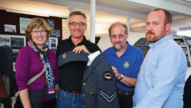 Bev and Allan Doern with the Canadian uniform: With Sunderland Trust Patron John Evans and Heritage Centre Manager Stuart Berry (Pic. Martin Cavaney)