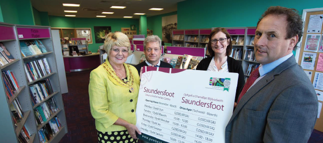 L-R: Chair of Saundersfoot Community Council, Sue Boughton-Thomas; Leisure and Information Assistant, Anthony Ferrier; Libraries Operations Manager South, PCC, Pamela Anthony; County Councillor Elwyn Morse