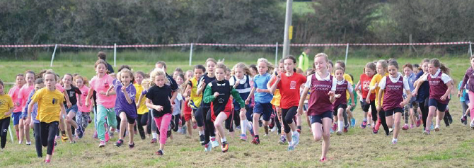 Running to victory: Year 4 Girls race against each other at this year's Pembrokeshire Primary Schools Cross Country Championships, held at Oakwood