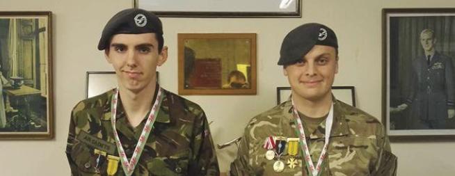 March to another medal: Sgt Owen Davies and CWO David Folder