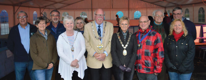 Ice rink success: Mayor of Haverfordwest Alan Buckfield , along with members of Haverfordwest Town Council, at the ice rink opening