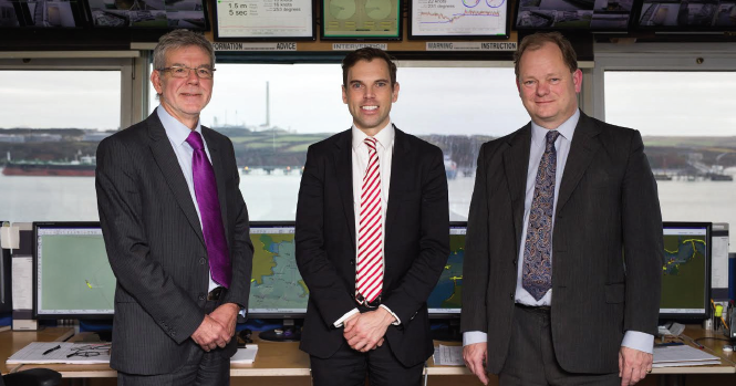 (L-R): Port of Milford Haven Chairman Peter Jones; Cabinet Secretary for the Economy and Infrastructure Ken Skates; and Port of Milford Haven Chief Executive Alec Don