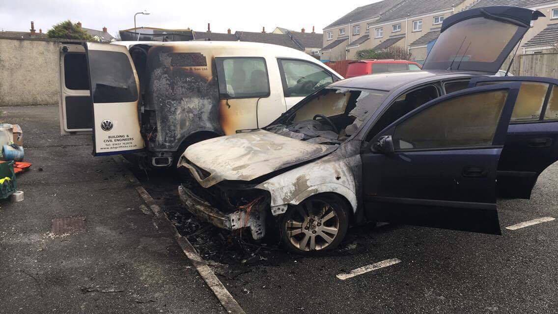 Fire damage: Two vehicles were damaged in the fire (pic. Alicia Curtis / The Herald)