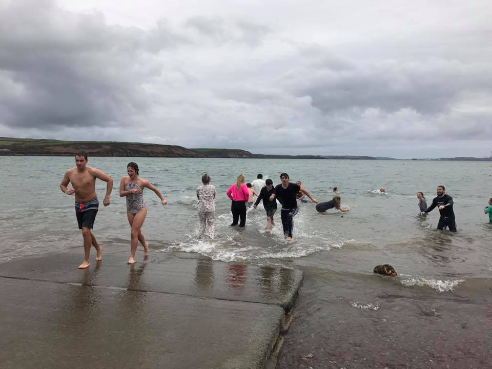 Freezing cold: The brave participants in the water at Dale