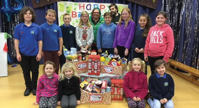 Stackpole VC pupils: With the hampers filled with goodies