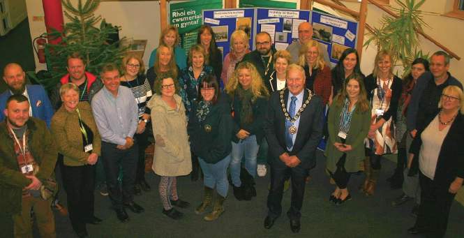 PCC Chairman Cllr Tony Brinsden and Cllr Sue Perkins: With the members that make up the Team Around the Family and Children with Disabilities teams of Pembrokeshire County Council
