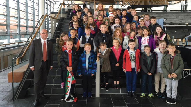 Local AM Paul Davies: With children from Milford Haven Junior School at the Senedd