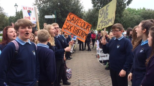 Protests: Pupils voiced their concerns about the new plans (pic. BBC)